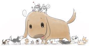 Αγόρι και κορίτσι με ένα μεγάλο σκυλί και μικρά σκυλιά διανυσματική απεικόνιση