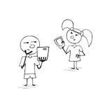 Αγόρι και κορίτσι με τα smartphones Στοκ Εικόνες