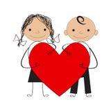 Αγόρι και κορίτσι με την καρδιά βαλεντίνων Στοκ Φωτογραφία