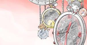 Αγόρι και κορίτσι που εγκαθιστούν στο μεγάλο ρολόι απεικόνιση αποθεμάτων