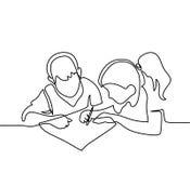Αγόρι και κορίτσι που επισύρουν την προσοχή σε χαρτί απεικόνιση αποθεμάτων