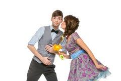 Αγόρι και κορίτσι που μοιάζουν με τις κούκλες στοκ εικόνα