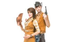 Αγόρι και κορίτσι που μοιάζουν με τις κούκλες Στοκ Φωτογραφία