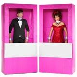 Αγόρι και κορίτσι που μοιάζουν με τις κούκλες στα κιβώτια Στοκ Φωτογραφία