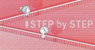 αγόρι και κορίτσι που περπατούν επάνω τα σκαλοπάτια διανυσματική απεικόνιση