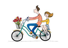 Αγόρι και κορίτσι ποδηλάτων Στοκ Εικόνες