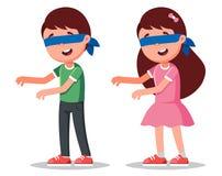 Αγόρι και κορίτσι χαρακτήρων με το blindfold παιχνίδια των παιδιών παιχνιδιού ελεύθερη απεικόνιση δικαιώματος