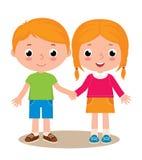Αγόρι και κορίτσι δύο φίλων που απομονώνονται στο άσπρο υπόβαθρο ελεύθερη απεικόνιση δικαιώματος