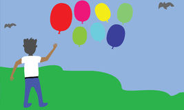Αγόρι και μπαλόνι Στοκ Εικόνες
