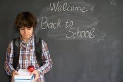 Αγόρι και πίσω στο σχολικό μαύρο πίνακα Στοκ Φωτογραφία
