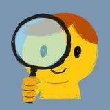 Αγόρι και πιό magnifier Στοκ Εικόνες