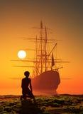 Αγόρι και πλέοντας βάρκα Στοκ Φωτογραφία