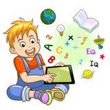 Αγόρι και ταμπλέτα ελεύθερη απεικόνιση δικαιώματος