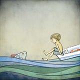 Αγόρι και ψάρια Στοκ Εικόνες