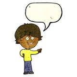 αγόρι κινούμενων σχεδίων που γελά και που δείχνει με τη λεκτική φυσαλίδα Στοκ Εικόνα