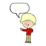 αγόρι κινούμενων σχεδίων που γελά και που δείχνει με τη λεκτική φυσαλίδα Στοκ Φωτογραφία