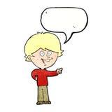 αγόρι κινούμενων σχεδίων που γελά και που δείχνει με τη λεκτική φυσαλίδα Στοκ φωτογραφίες με δικαίωμα ελεύθερης χρήσης