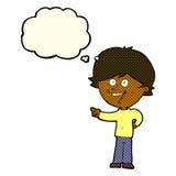 αγόρι κινούμενων σχεδίων που γελά και που δείχνει με τη σκεπτόμενη φυσαλίδα Στοκ εικόνες με δικαίωμα ελεύθερης χρήσης
