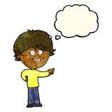 αγόρι κινούμενων σχεδίων που γελά και που δείχνει με τη σκεπτόμενη φυσαλίδα Στοκ Φωτογραφίες