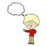 αγόρι κινούμενων σχεδίων που γελά και που δείχνει με τη σκεπτόμενη φυσαλίδα Στοκ Εικόνα