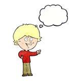 αγόρι κινούμενων σχεδίων που γελά και που δείχνει με τη σκεπτόμενη φυσαλίδα Στοκ Φωτογραφία