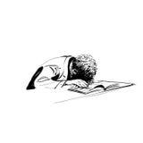 Αγόρι κοιμισμένο σε ένα σχολείο εκπαίδευσης εγχειριδίων Στοκ Εικόνες