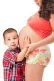 αγόρι λίγη έγκυος γυναίκα στοκ εικόνα με δικαίωμα ελεύθερης χρήσης