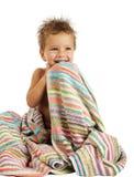 αγόρι λίγη πετσέτα χαμόγελ& Στοκ Φωτογραφίες