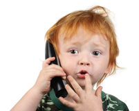 αγόρι λίγη τηλεφωνική ομιλία Στοκ Φωτογραφία