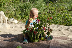 αγόρι μήλων που τρώει ελάχ&iota Στοκ Φωτογραφία