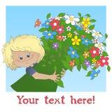 Αγόρι με μια μεγάλη ανθοδέσμη του λουλουδιού διανυσματική απεικόνιση
