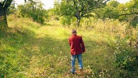 Αγόρι με μια walkie-συζήτηση στη φύση απόθεμα βίντεο