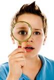 Αγόρι με πιό magnifier Στοκ εικόνα με δικαίωμα ελεύθερης χρήσης