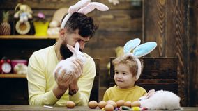 Αγόρι με τα αυτιά κουνελιών που εξετάζει το μικρό χνουδωτό λαγουδάκι Το άτομο κρατά το λαγουδάκι Πάσχας Η ευτυχής οικογένεια προε απόθεμα βίντεο