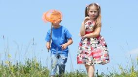 Αγόρι με τα καθαρά τρεξίματα πεταλούδων σε ένα ξέφωτο Παιχνίδι μικρών παιδιών στη χλόη φιλμ μικρού μήκους