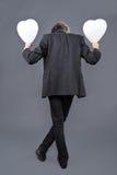Αγόρι με τα μπαλόνια καρδιών Στοκ φωτογραφίες με δικαίωμα ελεύθερης χρήσης