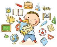 Αγόρι με τα σχολικά πράγματα διανυσματική απεικόνιση