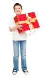 Αγόρι με το κιβώτιο δώρων Στοκ Εικόνες