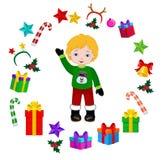 Αγόρι με το κοστούμι Χριστουγέννων και το στρογγυλό πλαίσιο Στοκ Εικόνα