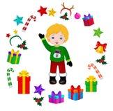 Αγόρι με το κοστούμι Χριστουγέννων και το στρογγυλό πλαίσιο Στοκ Εικόνες