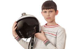 Αγόρι με το κράνος που απομονώνεται στο λευκό Στοκ Εικόνες