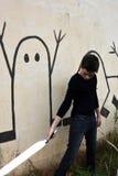 Αγόρι με το ξίφος λέιζερ Στοκ εικόνες με δικαίωμα ελεύθερης χρήσης