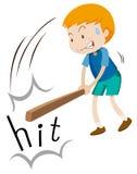 Αγόρι με το ξύλινο χτύπημα ραβδιών διανυσματική απεικόνιση