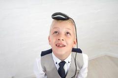 Αγόρι με το ποντίκι υπολογιστών Στοκ Φωτογραφίες
