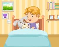 Αγόρι με το σκυλί στην κρεβατοκάμαρα ελεύθερη απεικόνιση δικαιώματος