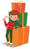 Αγόρι με το δώρο Χριστουγέννων Στοκ φωτογραφία με δικαίωμα ελεύθερης χρήσης