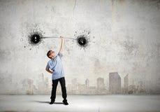 Αγόρι με το barbell Στοκ εικόνες με δικαίωμα ελεύθερης χρήσης