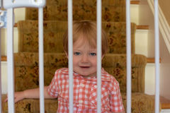 Αγόρι μικρών παιδιών πίσω από τις πύλες μωρών Στοκ εικόνα με δικαίωμα ελεύθερης χρήσης