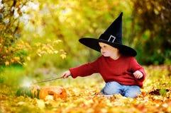 Αγόρι μικρών παιδιών στο δειγμένο παιχνίδι καπέλων με τη μαγική ράβδο υπαίθρια Στοκ Φωτογραφία