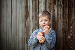 Αγόρι παιδάκι με τη Apple, υπαίθρια Παιδί που τρώει τα υγιή τρόφιμα Στοκ φωτογραφία με δικαίωμα ελεύθερης χρήσης